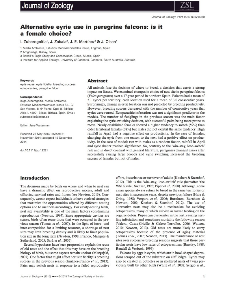 Alternative eyre use in peregrine falcon J Zool 2015